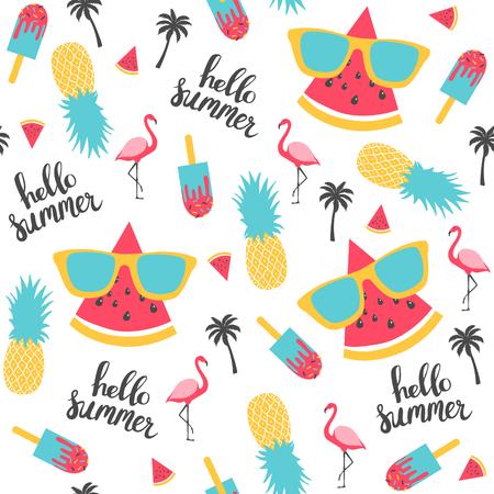 Summer pattern. Watermelon, pineapple. Imagens - 78356399