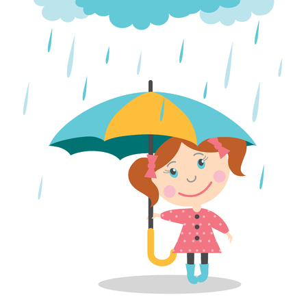 Girl with umbrella standing under the rain. Vector Illustration Çizim