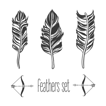 Hand drawn feathers set, vector illustration Çizim