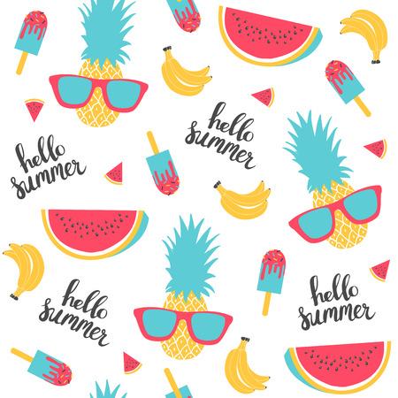 Zomer patroon. Watermeloen, ananas. Vector illustratie