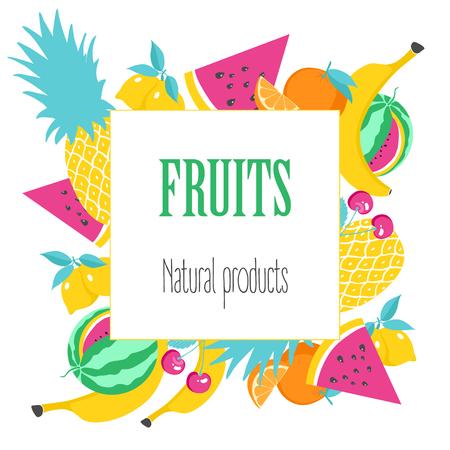 Square Banner mit Obst. Natürliches Produkt, Poster mit Früchten auf weißem Hintergrund. Vektor-Illustration Vektorgrafik