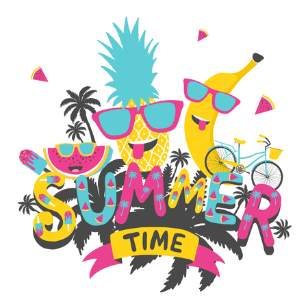 Heure d'été. Affiche de typographie dessiné main, carte de voeux, sacs, pour la conception de t-shirt, illustration vectorielle. Vecteurs