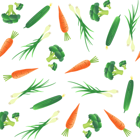 야채와 원활한 패턴입니다. 당근, 오이, 양파와 브로콜리. 벡터 일러스트 레이 션