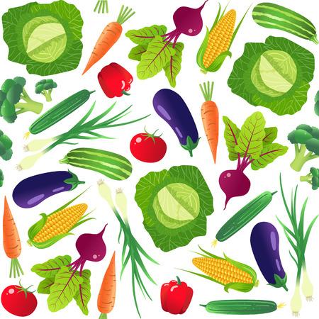 Groenten naadloos patroon. Vegetarisch eten. Geïsoleerd op witte achtergrond Vector illustratie