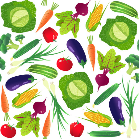 Vegetables seamless pattern. Vegetarian food. Isolated on white background. Vector illustration