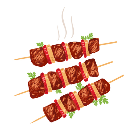 Shish kebab on skewers with onions and tomatoes. Vector illustration