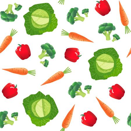 野菜とのシームレスなパターン。ニンジン、キャベツ、ピーマン、ブロッコリー。ベクトル図