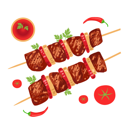Shish kebab on skewers with onions and tomatoes. Vector illustration Stok Fotoğraf - 80342083