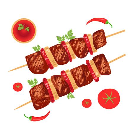 Shish kebab op spiesjes met uien en tomaten. Vector illustratie Stockfoto - 80342083