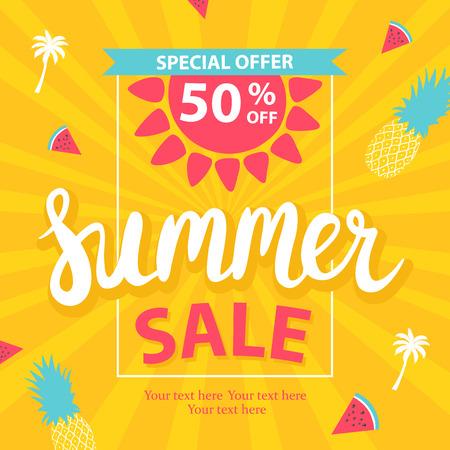 Summer sale banner. Vector illustration Illustration