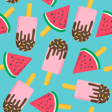 Ice cream with watermelon seamless pattern. Vector illustration