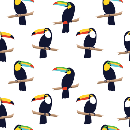 Seamless tropical pattern with toucans on white background. Vector illustration Ilustracja