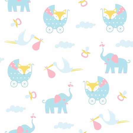 Seamless baby pattern. Vector illustration