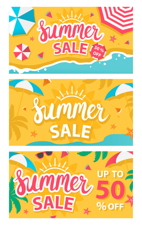 Summer sale banners set. Vector illustration Illustration
