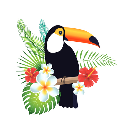 Toucan on a white background with exotic leaves and flowers. Vector illustration