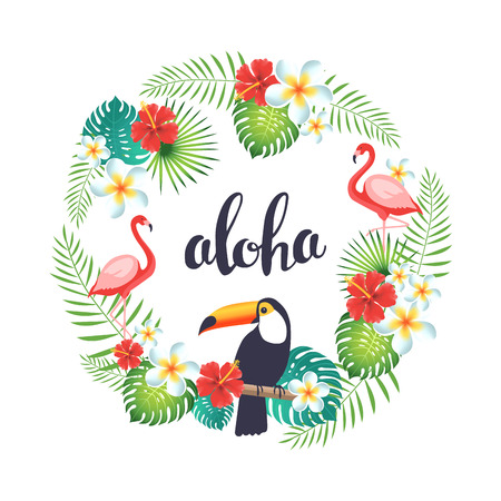 Tropical wreath with flamingo, toucans, exotic leaves and flowers. Vector illustration
