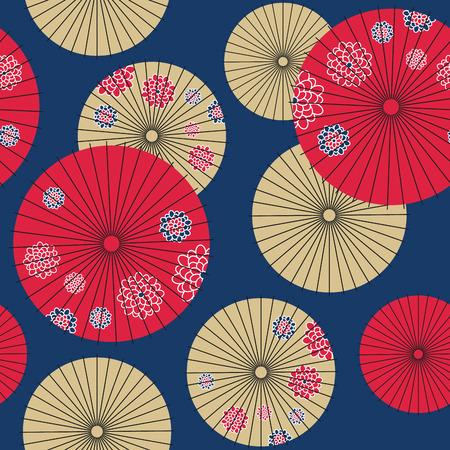 和傘のシームレスなパターン。ベクトル図