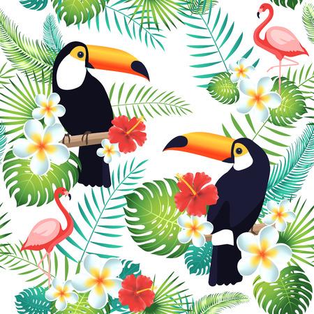 Modèle sans couture tropical avec des toucans, des flamants roses, des feuilles exotiques et des fleurs. Illustration vectorielle