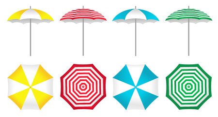 Colorful beach umbrellas set. Vector illustration