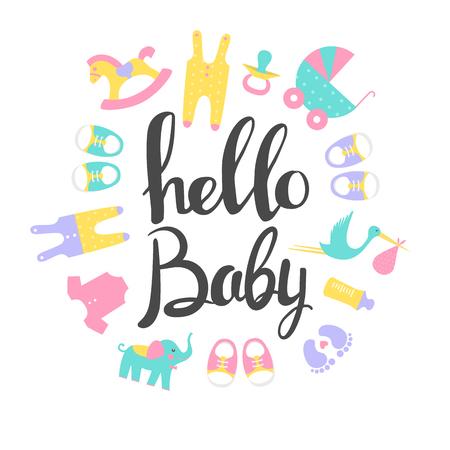 Baby shower card Ciao Baby. Illustrazioni vettoriali Archivio Fotografico - 83492956