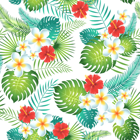 Forme tropical sans soudure avec des feuilles et des fleurs exotiques. Illustration vectorielle