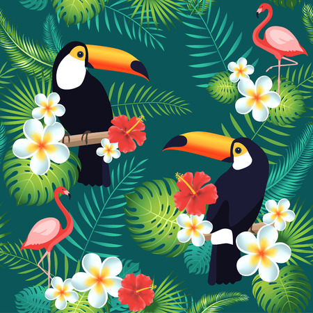 Tropical seamless pattern with toucans, flamingos, exotic leaves and flowers. Vector illustration