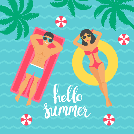 Hello summer. Man and women swimming in the sea. Vector illustration in flat design style