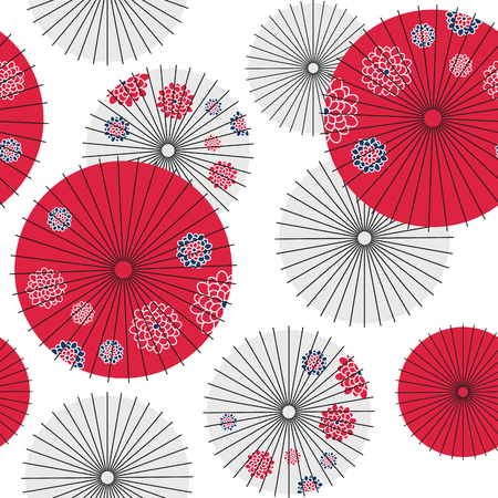 Japanese umbrella seamless pattern. Vector Illustration