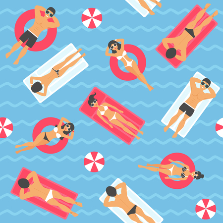 People swimming in the sea seamless pattern. Vector illustration