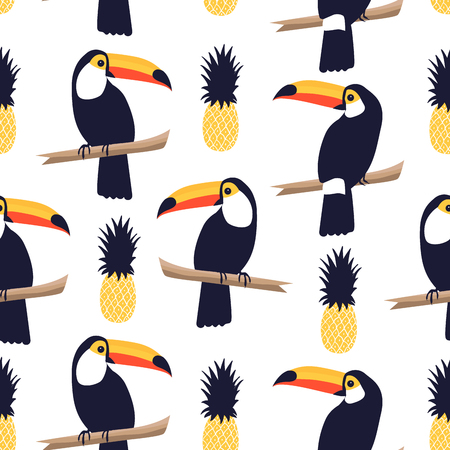 Seamless tropical pattern with toucans and pineapples on white background. Vector iustration