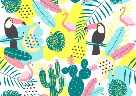 Tropical seamless pattern with toucan, flamingos, cactuses and exotic leaves. Vector illustration Stock Vector - 84522537