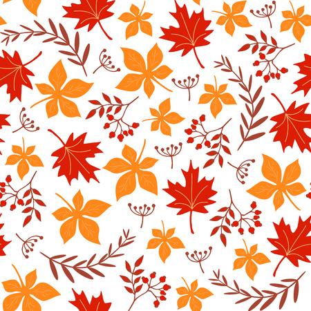 シームレスな葉の模様。秋の背景。ベクトル図