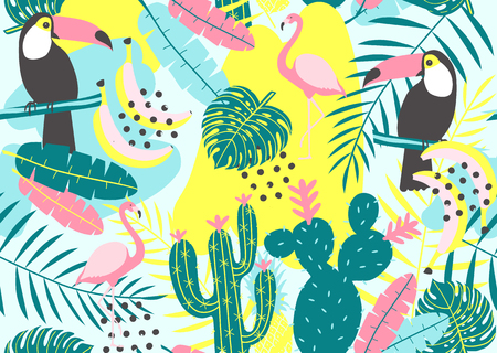 Tropical seamless pattern with toucan, flamingos, cactuses and exotic leaves. Vector illustration