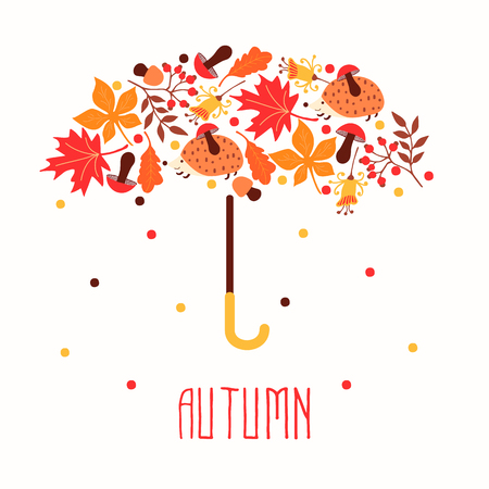 Hello autumn. Hand drawn abstract poster with leafs. Vector illustration 일러스트