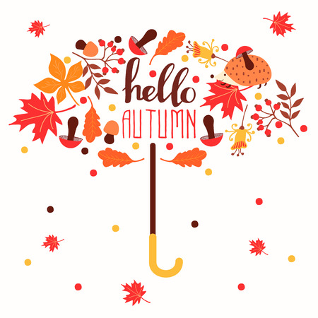 Hello autumn. Hand drawn abstract poster with leafs. Vector illustration Ilustrace