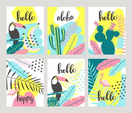 Floral posters set in a tropical style with exotic leaves, toucan, pineapple, flamingos. Can be used for cards, posters, invitations, flyers. Vector illustration Ilustracja