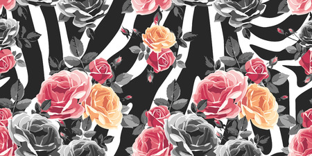 Roses pattern on zebra . Animal abstract print illustration