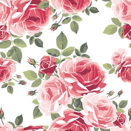 バラのパターン。ヴィンテージの花のイラスト  イラスト・ベクター素材