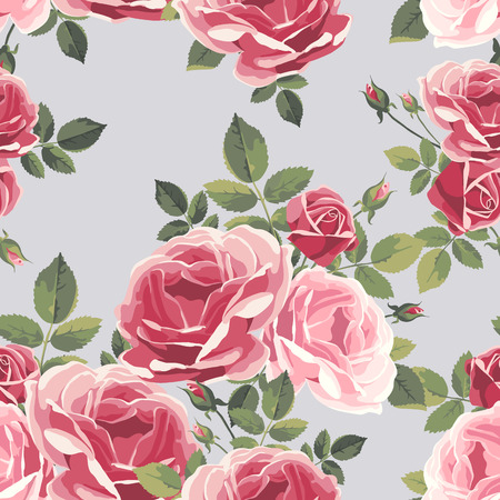 Pattern with roses. Vintage floral illustration