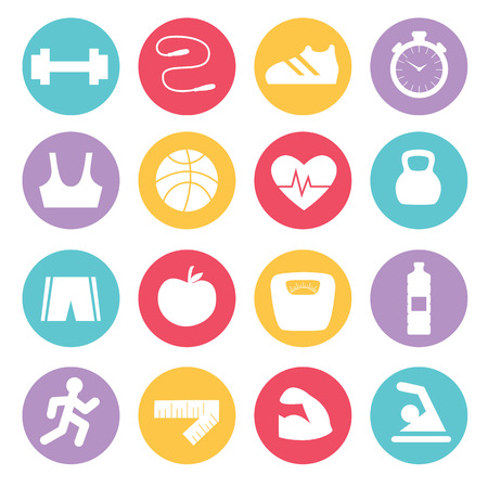 Fitness icons set in flat design, vector illustration Ilustrace