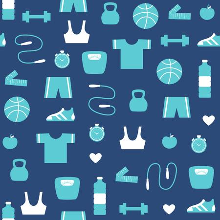 Fitness and sports pattern Illustration Reklamní fotografie - 86209728
