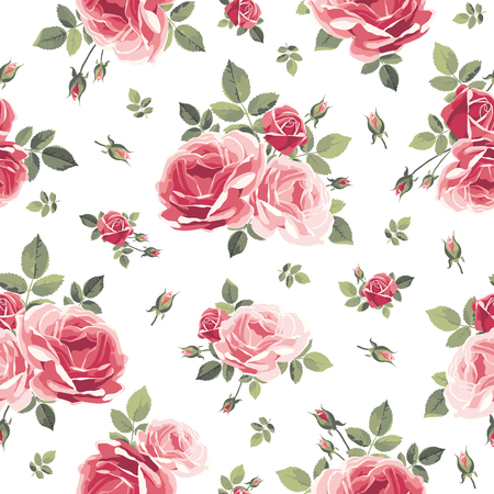 Pattern with roses. Vintage floral illustration