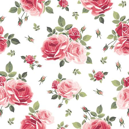 Muster mit Rosen. Vintage Blumenillustration Standard-Bild - 86209729