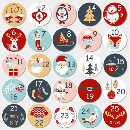 Calendario de Adviento de Navidad con elementos dibujados a mano. Cartel de Navidad. Ilustración vectorial