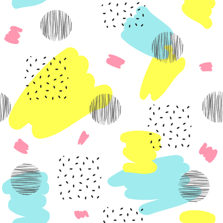 Abstract seamless patterns with black and color dots, spots. Vector illustration