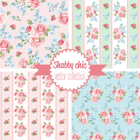 Shabby Chic Rose Patterns. Set seamless pattern. Vintage floral pattern, backgrounds. Vector illustration Illustration