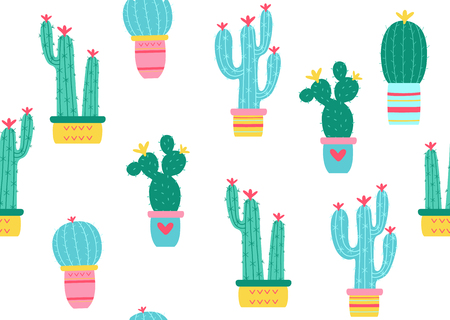 Cactuses seamless pattern. Vector illustration