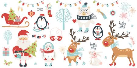 クリスマスと新年セット。 ベクターイラスト  イラスト・ベクター素材