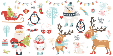 Christmas and New Year set.  Vector illustration