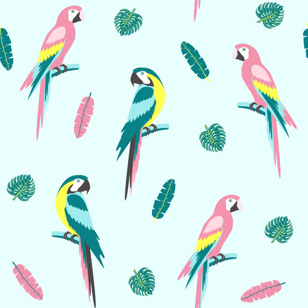 Tropical seamless pattern with parrot and exotic leaves. Vector illustration Ilustração